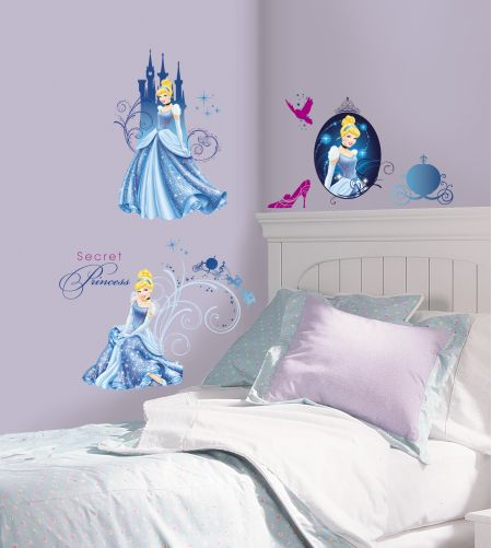 Disney Princess - Cinderella Glamour Wall Stickers with Glitter